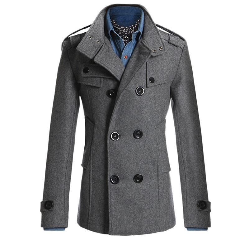 Men Winter Autumn Trench Coats Smart Casual Office Wool Blends Coat Jacket Slim Fit Business Formal Fashion Overcoat Top Outwear