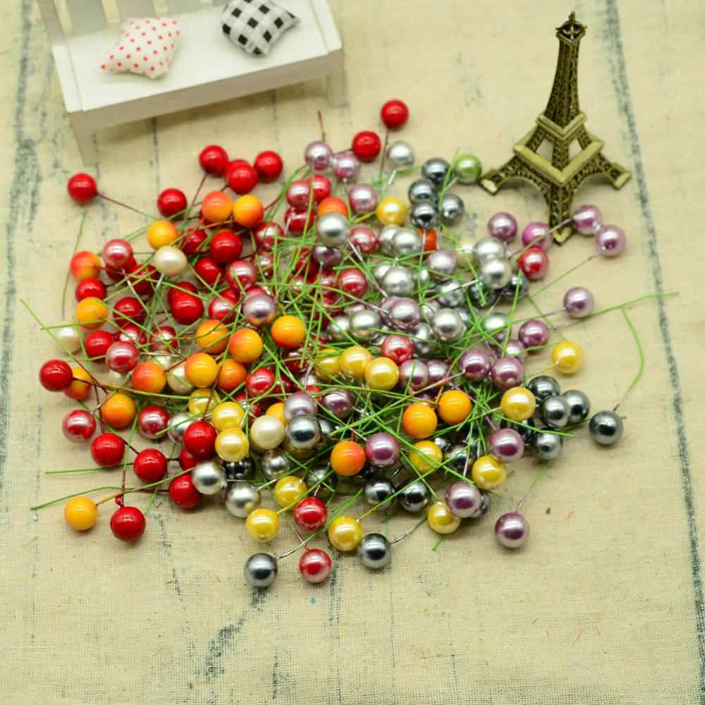 100 pcs frutas artificiais para guirlanda de natal home decor Foam cereja caixa de presentes scrapbook diy pompom flores baratos plantas Falsas