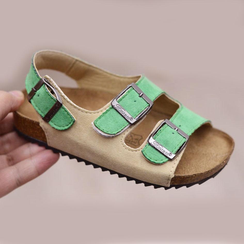 2017 Summer Fashion Toddler Girls Cork Sole Sandals European Style Baby Beach Clogs Buckle Straps Infant Sandals Summer