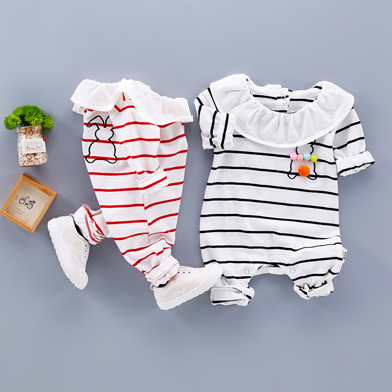 Baby Girl Clothes 100% Cotton Newborn Clothing Long Sleeve Rompers for Little Girls Infant Pajamas Baby Striped Bunny Clothes newborn baby winter clothes romper set cotton baby clothing for girls boys striped rompers infant long sleeve product bebek