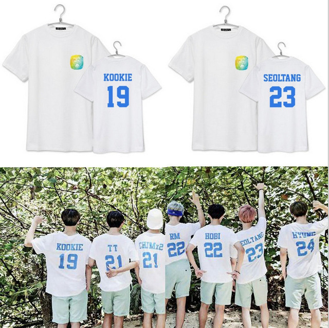 b86e3c49d4a1 2015 Kpop BTS Group Tops Men Tops   Tees BTS SUMMER PACKAGE Cotton T Shirt  Women