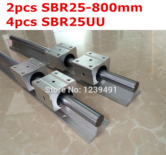 2pcs SBR25  -  800mm linear guide + 4pcs SBR25UU block 2pcs sbr25 l1500mm linear guides 4pcs sbr25uu linear blocks for cnc