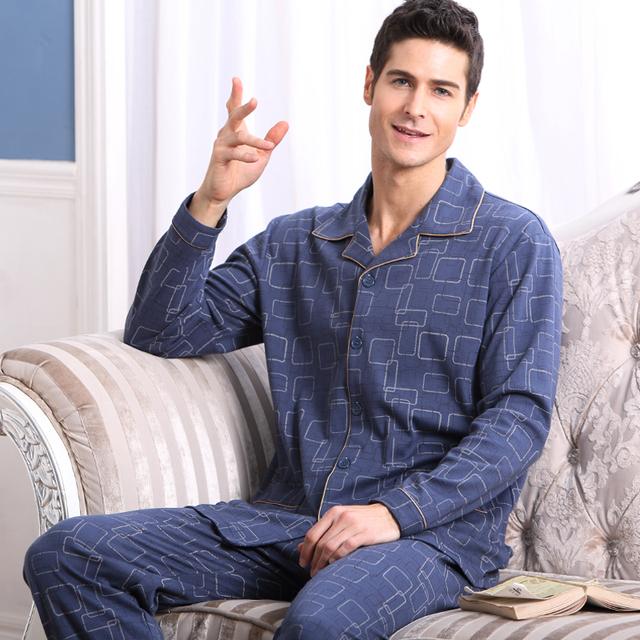 Pijama Dos Homens Primavera E No Outono de Algodão de mangas Compridas Calças Pijamas Pijama Set Lounge Plus Size 4XL Dos Homens