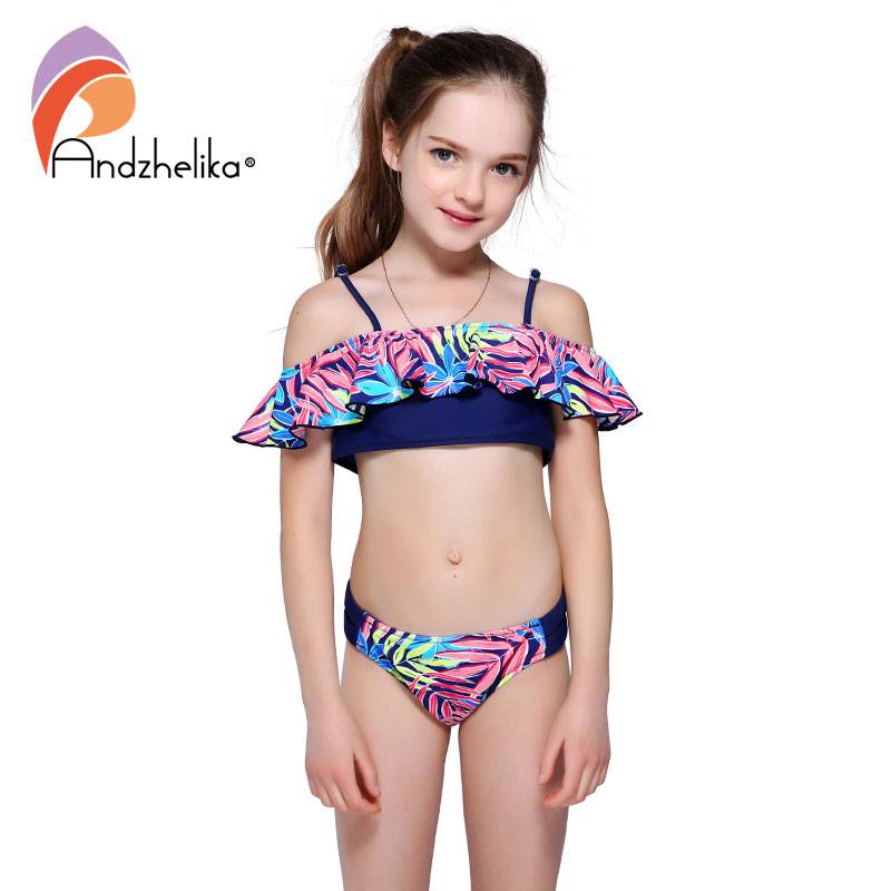 Andzhelika Bikini Girls Swimwear Summer Print Leaves Ruffle Bikinis Set Two-Piece Suits Children's Swimwear Swim Suit AK58 rabbit print ruffle hem pajama set
