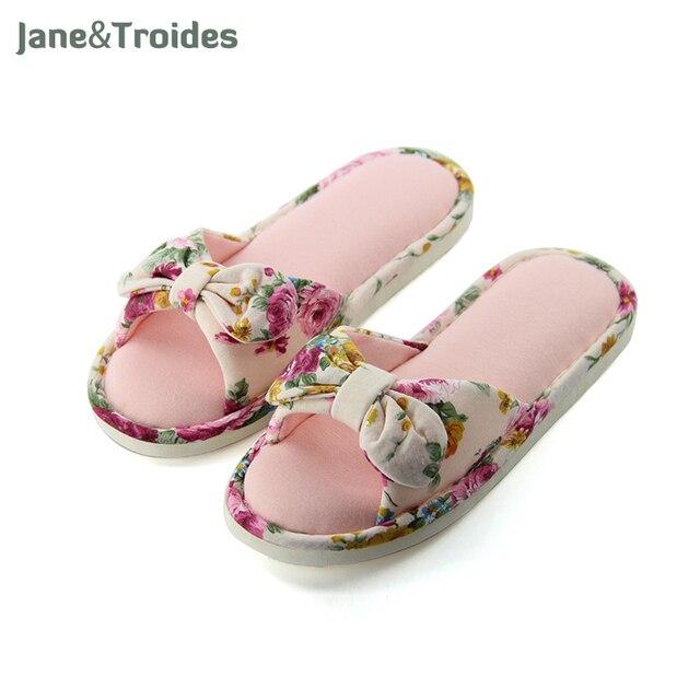 Floral Bow Cute Women Slippers Home Soft Cotton Comfortable Open Toe Flip Flops Romantic Pastoralism Sandals Fashion Woman Shoes