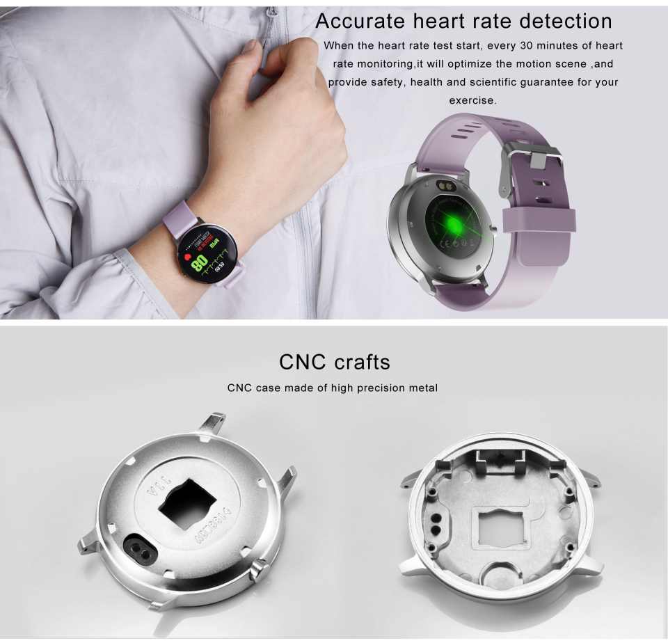 Sport watch smart tempered glass, waterproof, Android IOS Heart rate detection