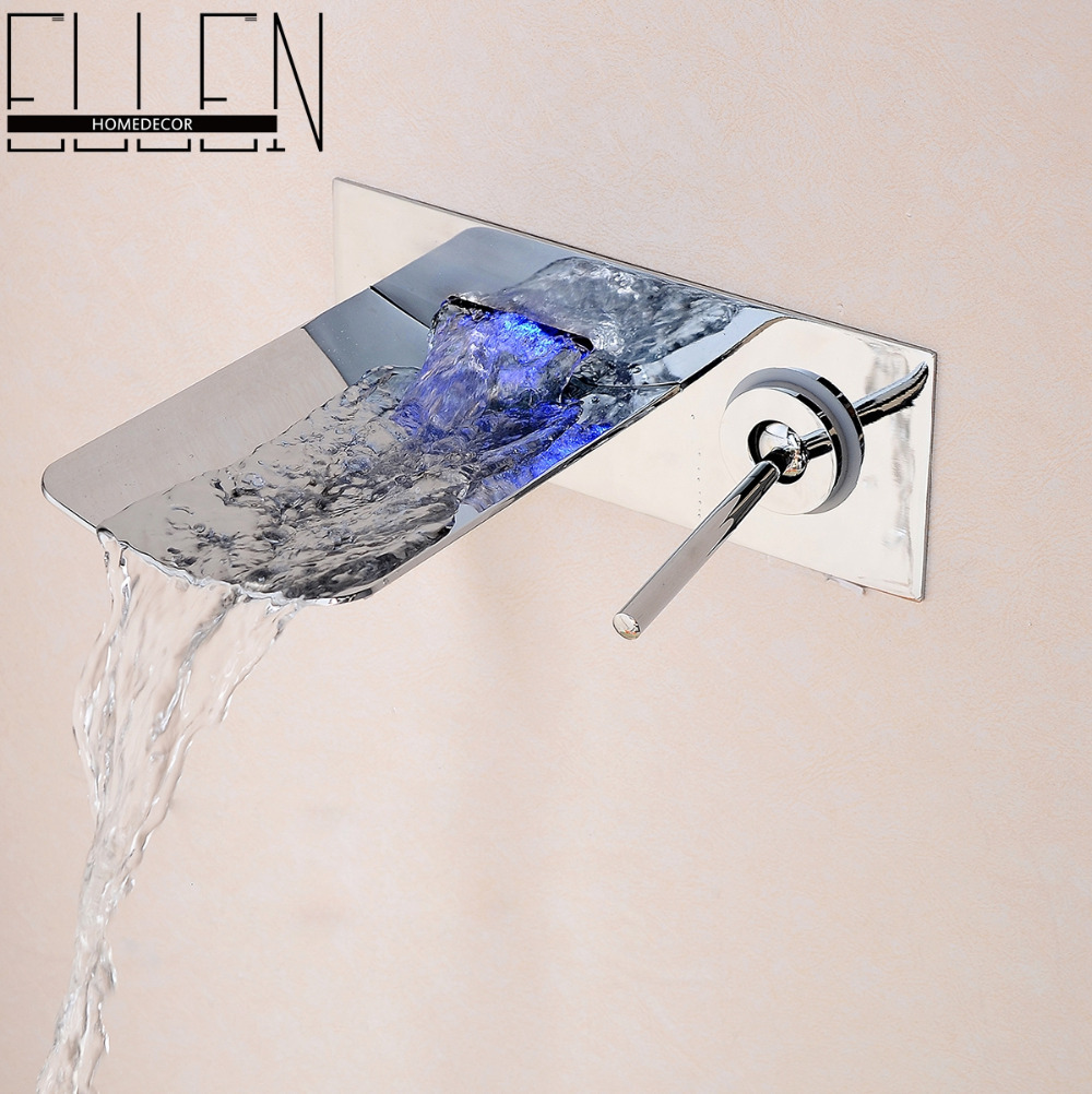 buy water led bathroom tap faucet temperature color changing led waterfall wall mount bathroom sink faucet from reliable bathroom sink