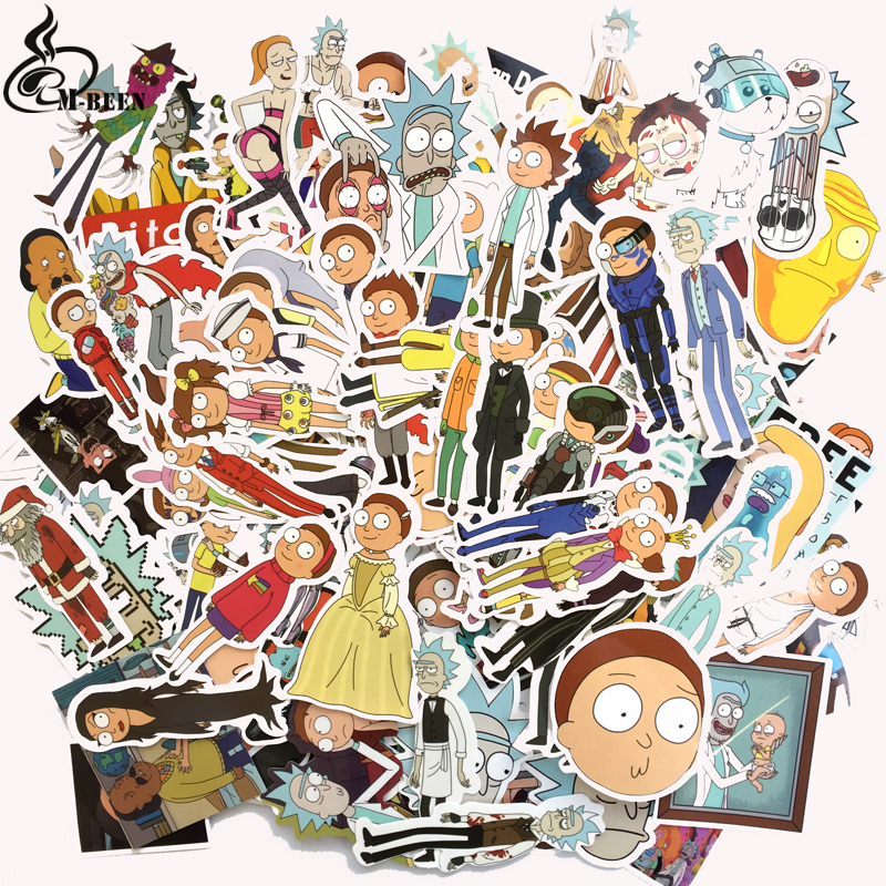230 Pcs Rick And Morty Cartoon Pvc Waterproof Sticker For Luggage Skateboard Phone Laptop Moto Trunk Guitar Car DIY Stickers 230 pcs rick and morty cartoon pvc waterproof sticker for luggage skateboard phone laptop moto trunk guitar car diy stickers