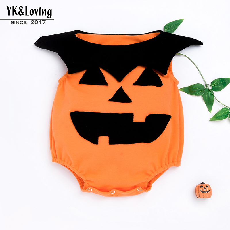 Cute Newborn Baby Girls Boys Halloween Clothes Pumpkin Cosplay Jumpsuit Cotton Romper Non Sleeve Outfits Christmas Gift