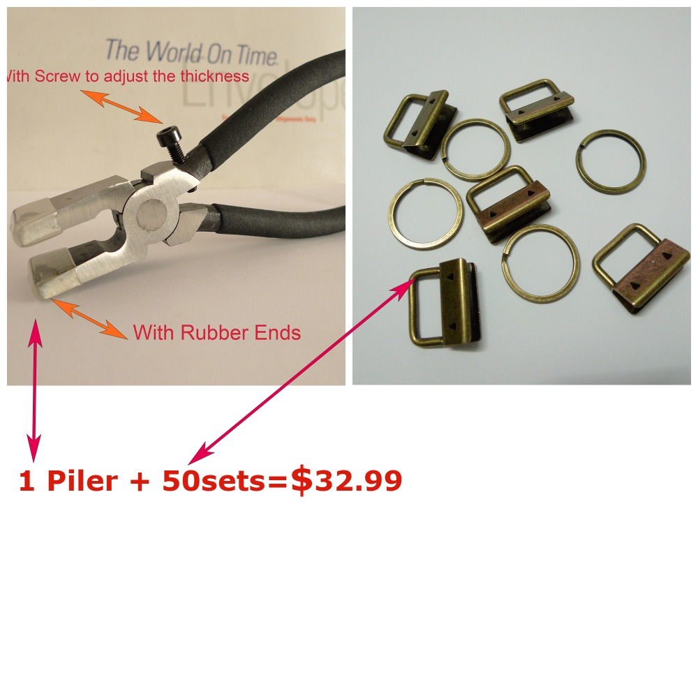 1 Plier 50sets 1 25mm Antique Brass Color Key Fob Hardware Combo Package
