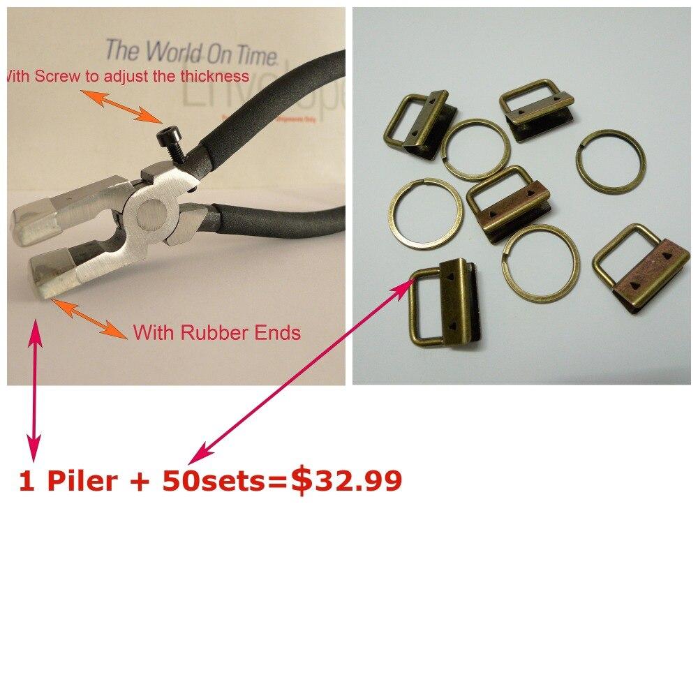 1 Plier 50sets 1 25mm Antique Brass Color Key Fob Hardware Combo Package