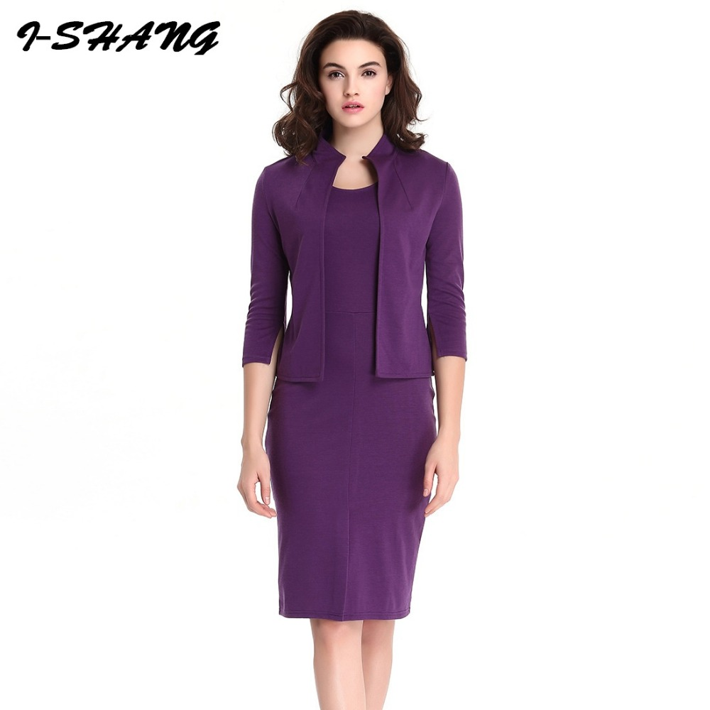 fc5bddfbb64164 Detail Feedback Questions about Plus Size 2 Pcs Elegant Women Sets 2017  Purple Bodycon Midi Dress Sleeveless and Cardigan Business Office Work Lady  Suits ...