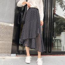 YICIYA chiffon black white polka dot floral print skirt for women Irregular ruffle mid calf 2019 summer skirts