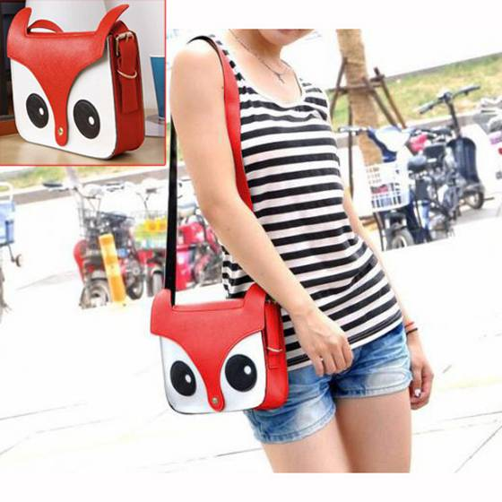 FGGS-Red Fashion Pu Leather Retro Owl Fox Bag Messenger Crossbody Handbag
