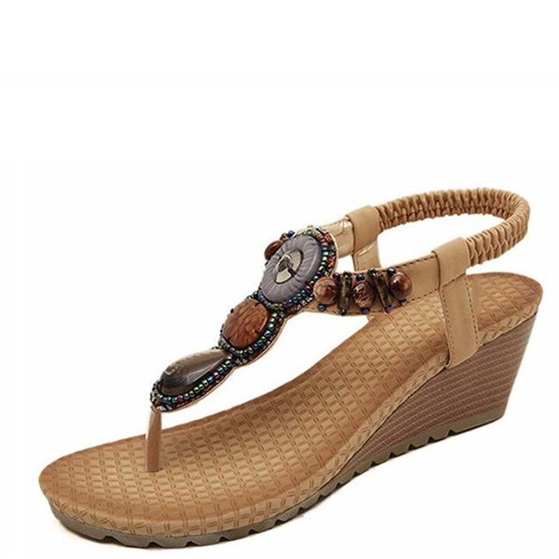 Mujer Cuentas 2017 De Cuñas Viento 35 Beige Tamaño A Bohemia 40 Nacional Con Sandalias Zapatos Hecho negro Moda Mano OqOrwHPx