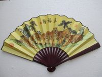 Chinese Art Paper Handmade Oil Paintings Ensemble Folding Fan
