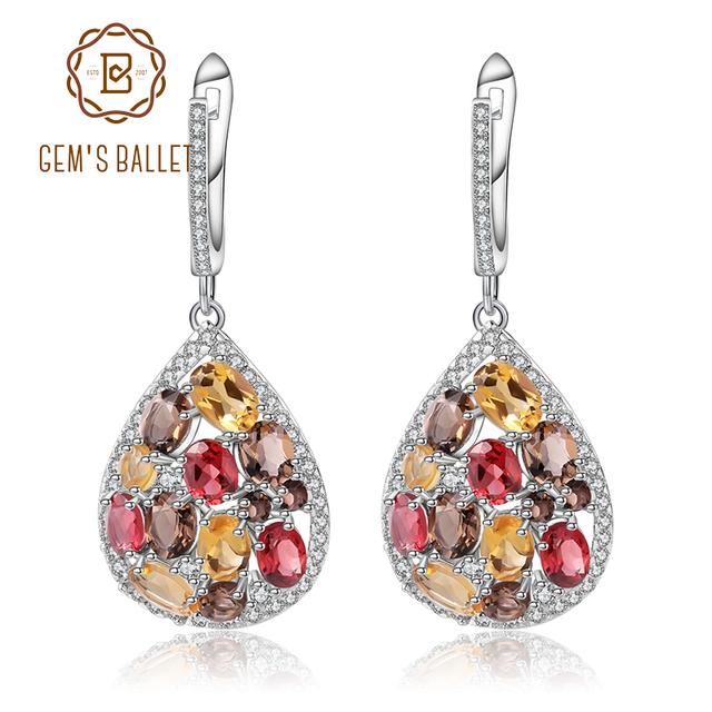 GEM'S BALLET 925 Sterling Silver Drop Earrings Natural Citrine Garnet Smoky Quartz Elegant Earrings for Women Fine Jewelry