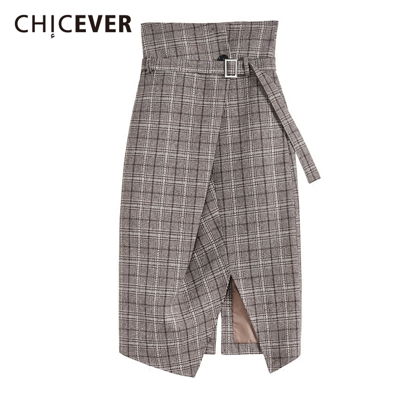 CHICEVER Autumn Irregular Split Plaid Women Skirt With Belt High Waist Mini Elegant Skirts Female Fashion New 2017 dabuwawa autumn women fashion sexy plaid skirt elegant mini pleated skirt short streetwear asymmetrical skirt d17csk031 page 5