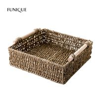 FUNIQUE Straw Wood Tabletop Storage Box Woven Storage Basket Bathroom Cosmetics Storage Basket Snack Small Basket