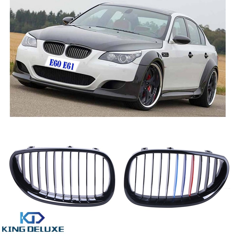 Gloss Black M-color Kidney Front Grills Grille For BMW E60 E61 5-Series 525i 528i 530i 535i 545i 550i M5 2003-2010 #P218 brand new for bmw e61 air suspension spring bag touring wagon 525i 528i 530i 535i 545i 37126765602 37126765603 2003 2010