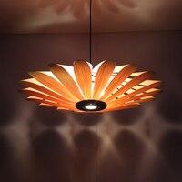 Bamboo wooden pendant lights Chinese restaurant LED lamp wood ceiling wooden lamp light Hotel flower Pendant lamps ZA