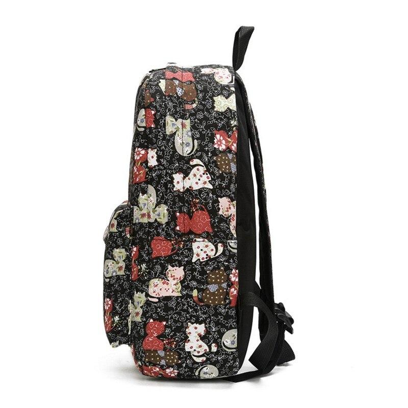 Lovely Cat Printing Backpack Canvas Backpacks School Bags For Teenager Girls Ladies Casual Cute Rucksack Bookbags WM12Z