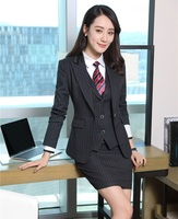 Formal Ladies Blazers Women Business Suits 3 Piece Skirt + Jacket and Waistcoat Sets Office Ladies Work Suits OL Styles