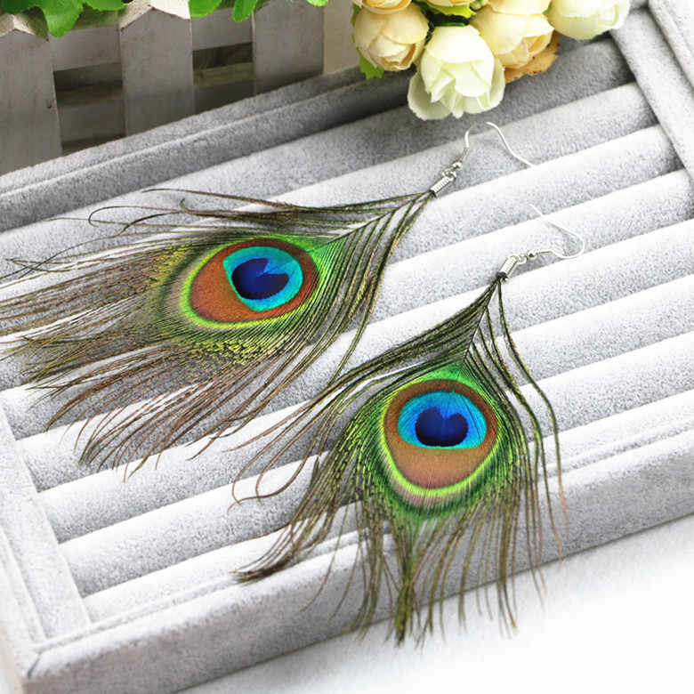 SHUANGR Fashion New Style Assorted Color Peacock Natural Feather Earrings Wholesale Drop Earrings Long Drop For Women