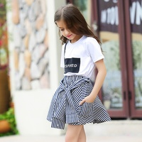 Girl Clothing Set 2018 Summer Baby Girls Clothes White Letter T Shirt+Blue Striped Skirt Pants Children Clothes Suit for Teens