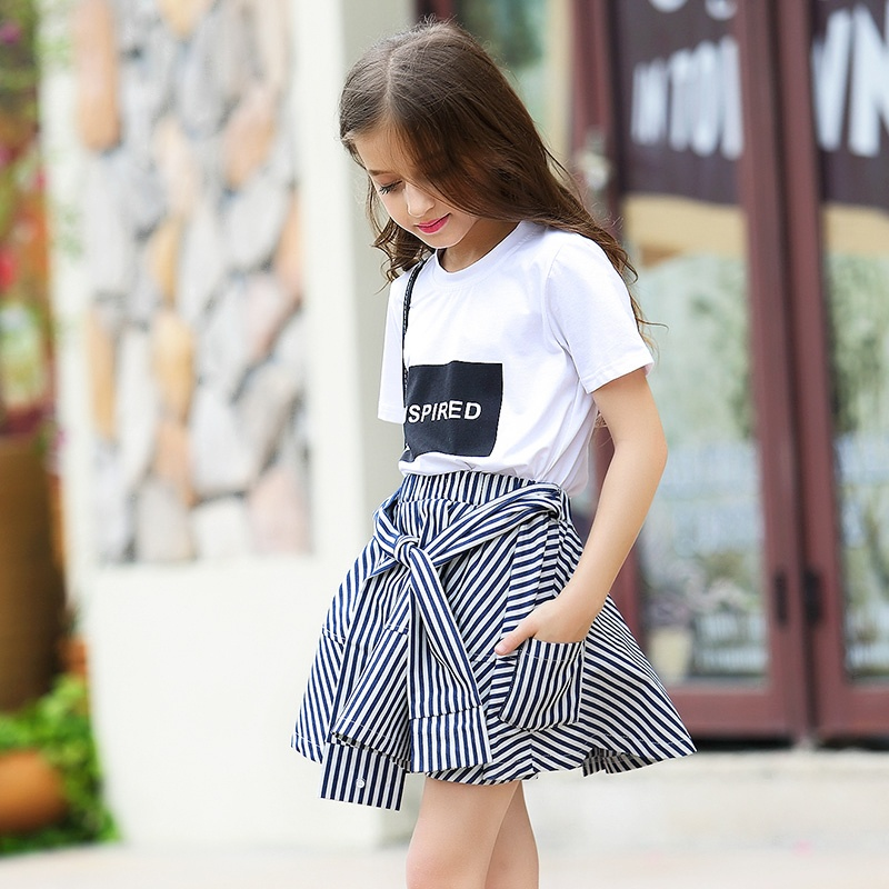 Girl Clothing Set 2018 Summer Baby Girls Clothes White Letter T Shirt+Blue Striped Skirt Pants Children Clothes Suit for Teens uneven hem striped midi skirt
