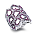 High-quality product Luxury Hollow Ring Micro Pave Settings with AAA Siam and Clear Cubic Zirconia Ring for Party
