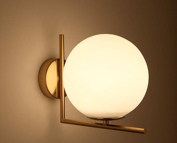 Simple modern led wall lamp Nordic bedroom bedside lamp glass lamp cover living room posterior modern round wall lamp WWL145 american village wall lamp nordic bronze glass bird living room bedroom bedside lamp