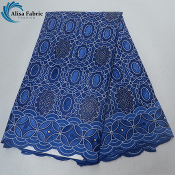 Royal Blue Embroidery African Lace Fabric With Stones And Beads 5 Yards/piece Swiss Voile Laces Fabric For Evening Wedding Dress