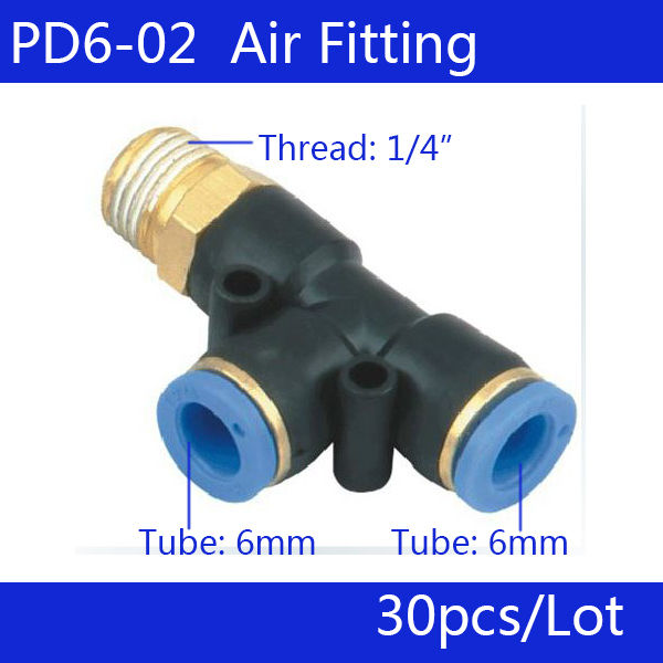 Free shipping 30Pcs Pneumatic 1/4 Thread 6mm One Touch Push In T Joint Quick Fittings PD6-02 pneumatic 1 4 pt thread tube 8mm t joint one touch quick fittings