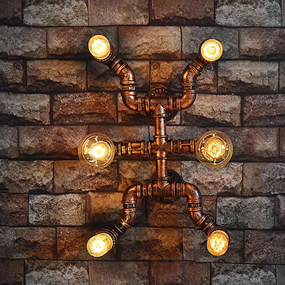 6 Heads American Countryside Industrial Vintage Loft Style Water Pipe Wall Lamp Cafe Asile Balcony Retro Light american countryside industrial vintage loft wrought iron net water pipe wall lamp cafe bars balcony retro light free shipping