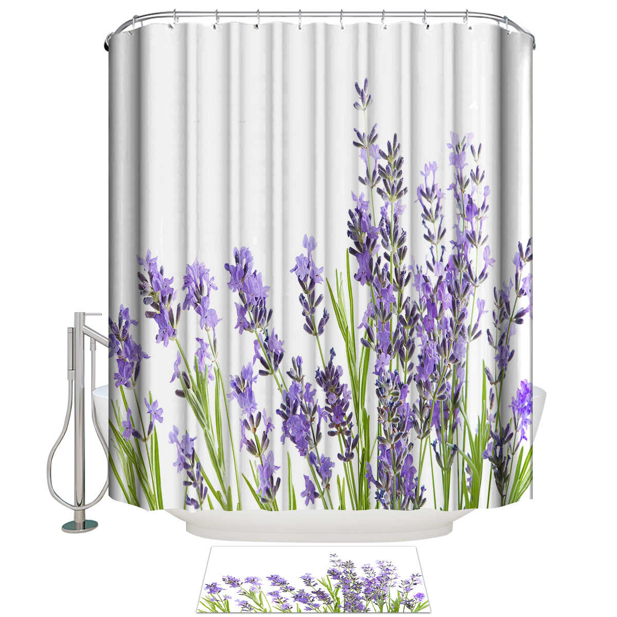 Purple Lavender Bathroom Mat With Shower Curtain Bathroom Accessory Sets 2 Piece Bathroom Set Shower Curtain Sets Outdoor