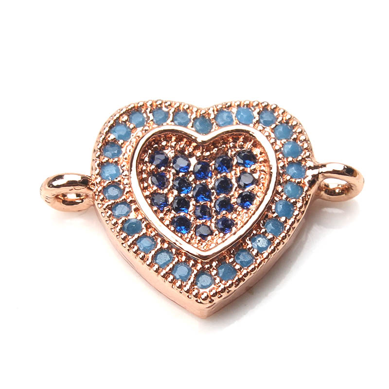 EVIL EYE new 11 * 16mm Copper Heart Crystal Charms Connectors Micro Pave CZ Heart Rate Montage Women Diy Men Necklace & Penda ...