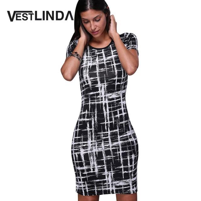Vestlinda летние офисные карандаш миди платье короткий рукав печати Bodycon платье Женщины Туника Элегантный Vestidos оболочка женские платья