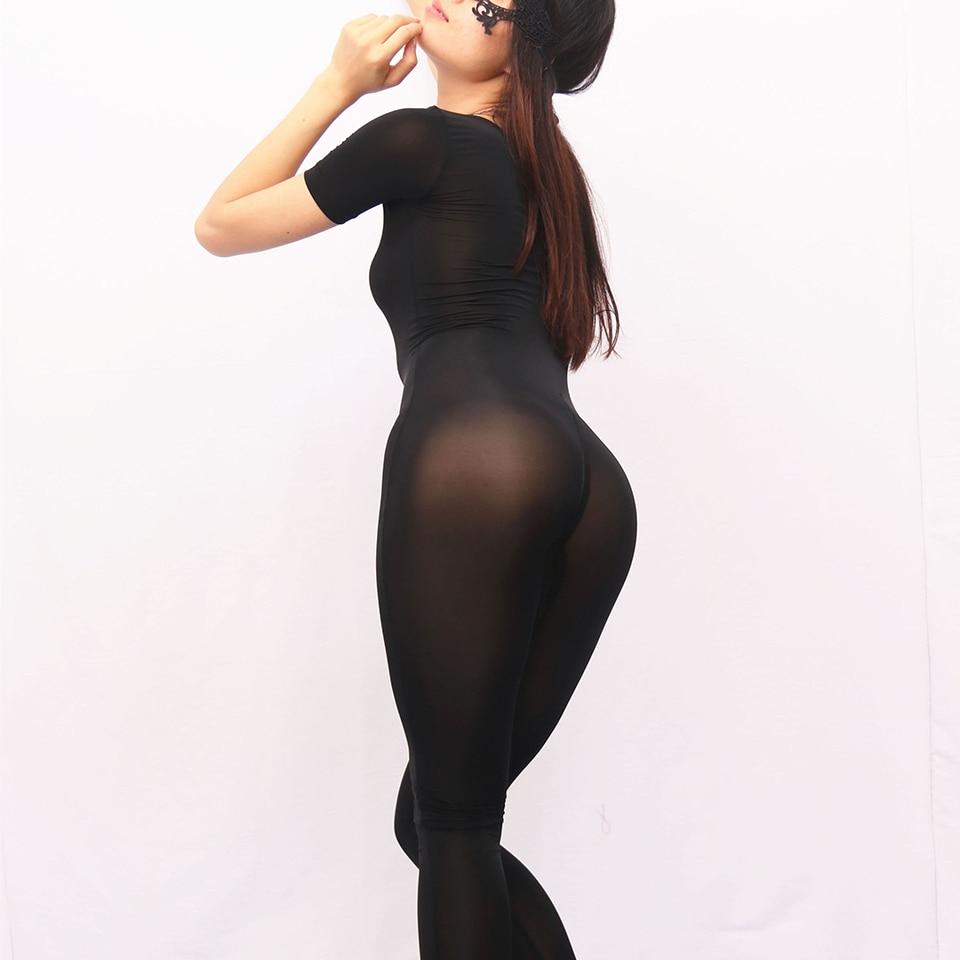d3128462ed5 Free shipping Sexy Women Ice Silk See Through Bodysuit Short Sleeve Off  Shoulder Zipper Crotch Underwear