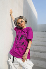 цена на Dope Body Printed Oversized Street T-shirt Women 2019 Summer Loose Hip Hop Tshirts Purple Cotton Tee Shirts