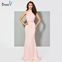 Dressv rosa vestido de noite halter pescoço da sereia elegante beading bowknot casamento do assoalho-comprimento vestidos de festa formal vestido de noite