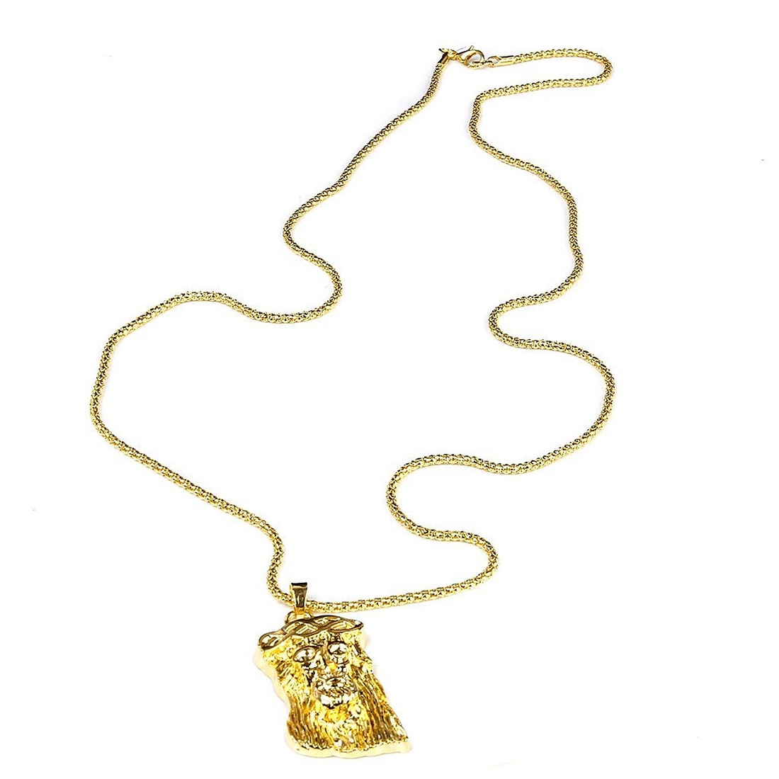 Pendant Necklace of Jesus Christ of Gold Alloy of Hip-Hop Chain of Popcorn Jewelry