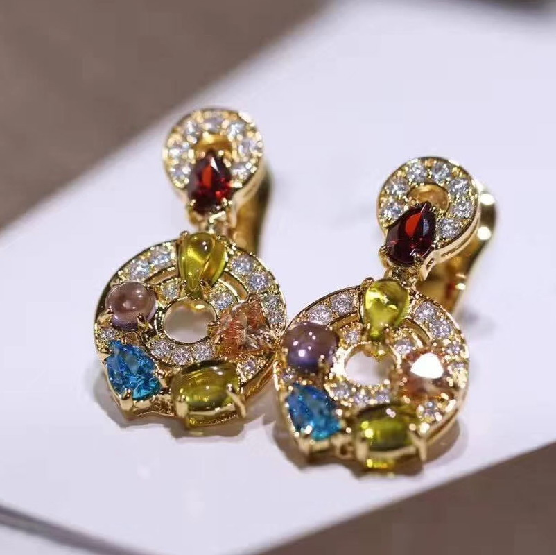 925 sterling silver Party jewelry Zircon stone round earrings colored gift jewellery for women