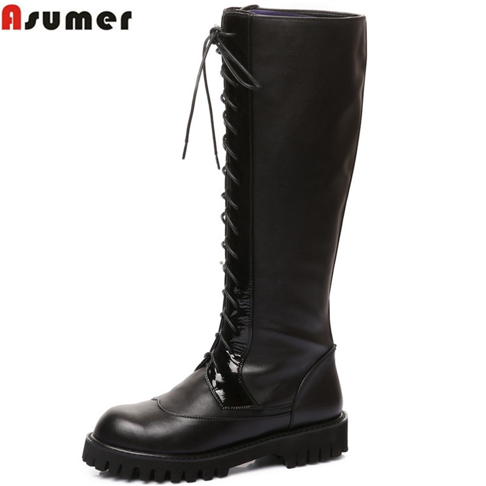 Asumer black new arrive women boots square heel genuine leather+pu ladies boots round toe lace up cow leather knee high boots asumer 2018 hot sale new arrive women boots round toe black white pink ladies boots keep warm winter knee high boots