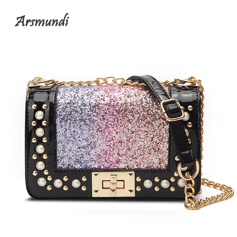 Arsmundi New Women Bag Rainbow Sequins Rivet Shoulder Bag Pearl Turn Lock Messenger Crossbody Bags Fashion Small Square Handbags
