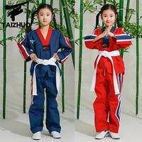 Taekwondo uniform korea Kids Adults Taekwondo Uniform W/Black Belt Dobok Muay Thai Judo Clothes Sets Long Sleeves