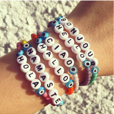 6 Country Language Letter Hello Colorful Beading Handmade Strand Bracelet Acrylic Fashion Women Bracelets & Bangles Pulserias