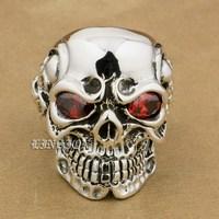 US Size 8 15 Red CZ Stone Eyes Solid 925 Sterling Silver Titan Skull Mens Biker