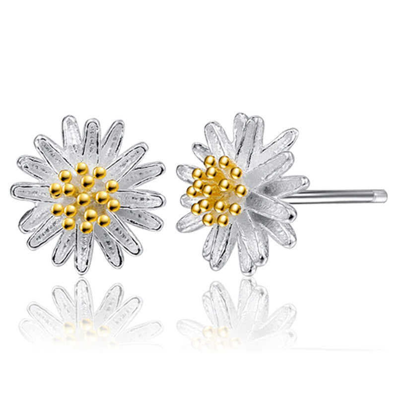 2017 New Arrival Fashion Cute Daisy Flower Ear Stud Jewelry Stud Earrings For Women Girls Earring Ear Stud Freeshipping