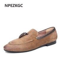 Npezkgc модные Для мужчин броги Мужская обувь Мокасины Повседневное Мужская обувь Туфли без каблуков слипоны Винтаж кисточкой кожаные ботинки